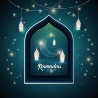 Ramadan Kareem Night Blue Full of Stars with Lanterns Background Design Vector