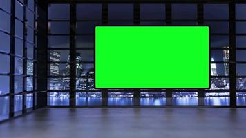 estúdio de tv virtual com cidade panorâmica