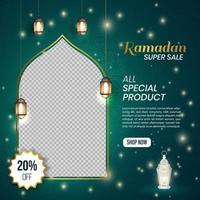 Ramadan Kareem Social Media Banner Template Design vector