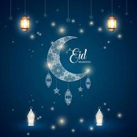 celebración islámica eid ul fitr mubarak. ornamento luna estrellas linterna fondo diseño vector
