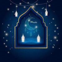 Ramadán kareem celebración islámica fondo de noche azul vector