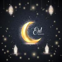 celebración islámica de eid ul fitr mubarak. ornamento luna estrellas linterna diseño de fondo vector