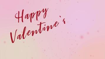 Happy valentines day text on pink background and heart shape of motion graphic.