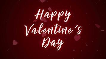 feliz día de san valentín sobre fondo rojo y animación en forma de corazón.
