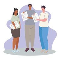 Interracial people with voting papers vector