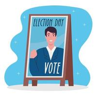 Election day celebration with candidate banner vector