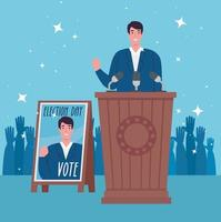 Election day celebration banner with candidate' speech vector