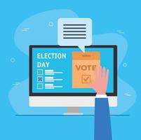 Election day celebration with online option vector