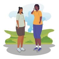 Interracial women hanging out vector