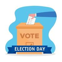 hand voting on election day vector