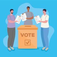 Interracial men voting vector
