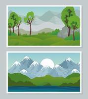 landscape banner set vector design