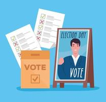 Election day celebration with candidate banner and voting papers vector