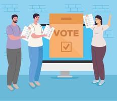 People voting online vector