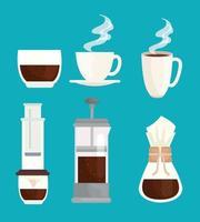 coffee brewing methods icon set vector