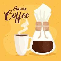 espresso coffee, chemex method and ceramic cup vector