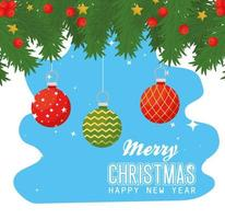 Merry Christmas and happy new year banner with ornaments vector