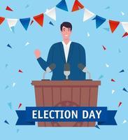 Banner de celebración del día de las elecciones con el discurso del candidato. vector