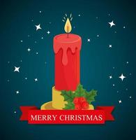 Merry Christmas banner with candle vector