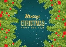 Merry Christmas and happy new year banner with leaves vector design