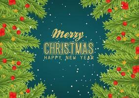 Feliz navidad y próspero año nuevo banner con hojas de diseño vectorial vector