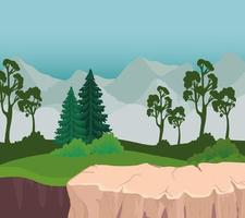 landscape with trees in front of mountains vector design