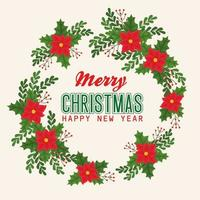 Merry Christmas and happy new year banner with flowers and leaves vector