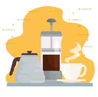 Coffee brewing methods design vector