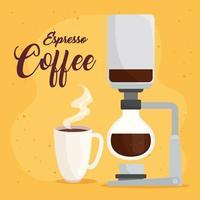 espresso coffee, syphon method on yellow background vector