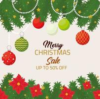 Merry Christmas and happy new year sale banner vector