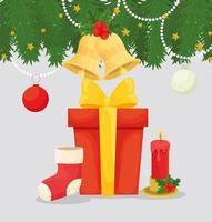 Merry Christmas banner with gifts vector