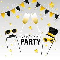 Happy new year banner with party vector