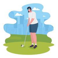 woman playing golf vector design