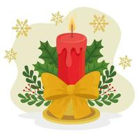 Christmas candle with ribbon vector