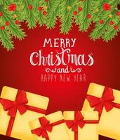 Merry Christmas and happy new year banner with gifts vector