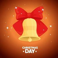 Merry Christmas banner with bell vector