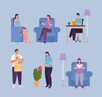 people doing activities at home icon set vector design