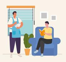 men cooking and reading at home vector design