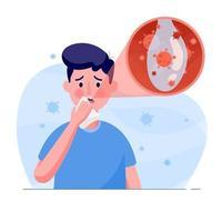el hombre tiene síntomas de tos, mocos o secreción de virus corona en estilo plano. concepto de diseño de ilustración de la asistencia sanitaria y médica. concepto de ataque del virus corona mundial y covid-19. vector