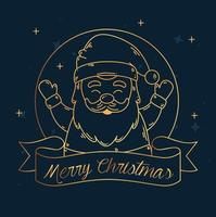 Merry Christmas and happy new year banner with santa claus vector