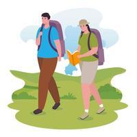 pareja caminando al aire libre vector