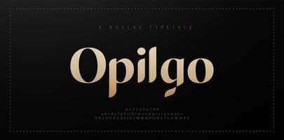 elegante fuente de letras del alfabeto y número. diseños de moda minimalistas con letras de cobre clásicas. fuentes tipográficas mayúsculas y minúsculas regulares. ilustración vectorial vector