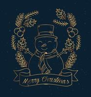 Merry Christmas and happy new year banner with snowman vector design