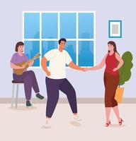 people dancing and playing guitar at home vector design