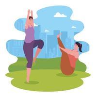 women doing yoga at the park vector design