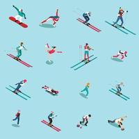 gente isométrica del deporte de invierno vector