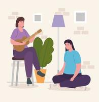 women playing guitar at home vector design