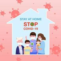the family father, mother and baby girl. stay at home for protect coronavirus. covid-19 outbreaking and pandemic attack concept. vector