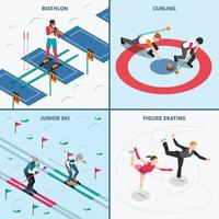 winter sport isometric people 2x2 vector