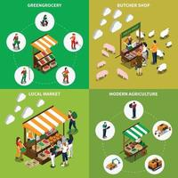 farm local market isometric 2x2 vector